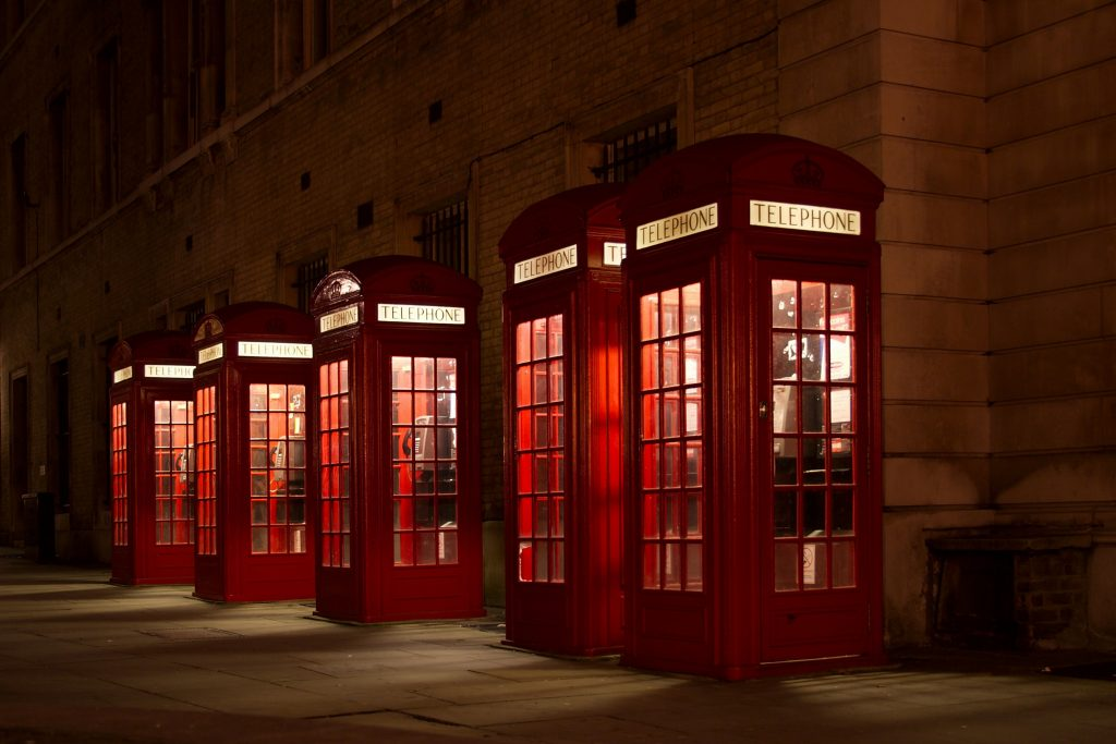 Telephone boxes all in a row